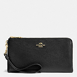 COACH F53089 Double Zip Wallet In Pebble Leather LIGHT GOLD/BLACK