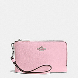 COACH F53090 Double Corner Zip Wristlet In Pebble Leather SILVER/PETAL