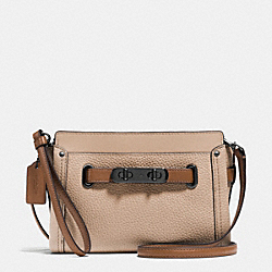 COACH F53107 Coach Swagger Wristlet In Colorblock Leather DARK GUNMETAL/BEECHWOOD MULTI