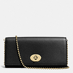 COACH F53124 Slim Chain Envelope In Crossgrain Leather LIGHT GOLD/BLACK