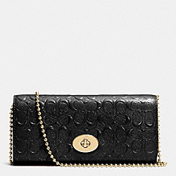 COACH F53125 Slim Chain Envelope In Signature Debossed Patent Leather  LIGHT GOLD/BLACK