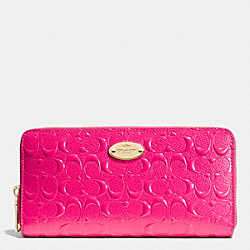 COACH F53126 Accordion Zip Wallet In Signature Debossed Patent Leather  LIGHT GOLD/PINK RUBY