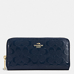 COACH F53126 Accordion Zip Wallet In Signature Embossed Patent Leather IMITATION GOLD/MIDNIGHT