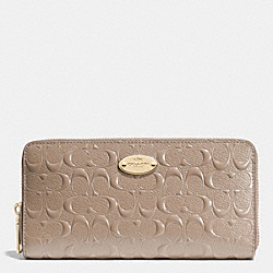 COACH F53126 Accordion Zip Wallet In Signature Embossed Patent Leather LIGHT GOLD/STONE