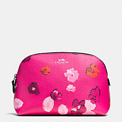 COACH F53131 Cosmetic Case In Floral Print Canvas  SILVER/PINK MULTICOLOR