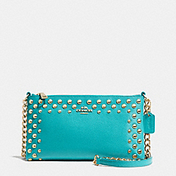COACH F53140 - QUINN CROSSBODY IN STUDDED CROSSGRAIN LEATHER  LIGHT GOLD/CADET BLUE