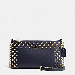 COACH F53140 - QUINN CROSSBODY IN STUDDED CROSSGRAIN LEATHER  LIGHT GOLD/MIDNIGHT