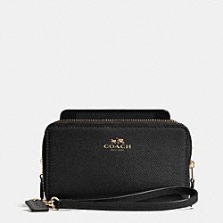 COACH F53141 Double Zip Phone Wallet In Crossgrain Leather LIGHT GOLD/BLACK