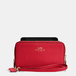 COACH F53141 Double Zip Phone Wallet In Crossgrain Leather IMITATION GOLD/CLASSIC RED