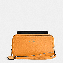 COACH F53141 Double Zip Phone Wallet In Crossgrain Leather IMITATION GOLD/ORANGE PEEL