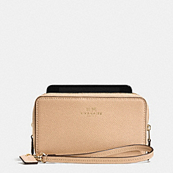 COACH F53141 Double Zip Phone Wallet In Crossgrain Leather LIGHT GOLD/NUDE