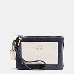COACH F53142 Small Wristlet In Bicolor Crossgrain Leather  LIGHT GOLD/MIDNIGHT/CHALK