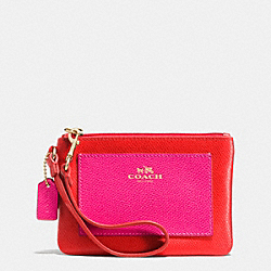 COACH F53142 Small Wristlet In Bicolor Crossgrain Leather  LIGHT GOLD/CARDINAL/PINK RUBY