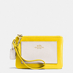 COACH F53142 Small Wristlet In Bicolor Crossgrain Leather  LIGHT GOLD/YELLOW/CHALK