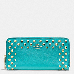 COACH F53145 Accordion Zip Wallet In Studded Crossgrain Leather  LIGHT GOLD/CADET BLUE