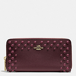 COACH F53145 Accordion Zip Wallet In Studded Crossgrain Leather IMOXB