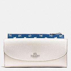COACH F53154 Badlands Floral Pop Slim Envelope In Crossgrain Leather  SILVER/CHALK MULTI