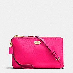 COACH F53157 - LYLA DOUBLE GUSSET CROSSBODY IN PEBBLE LEATHER LIGHT GOLD/PINK RUBY