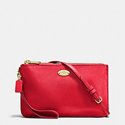 COACH F53157 - LYLA DOUBLE GUSSET CROSSBODY IN PEBBLE LEATHER IMITATION GOLD/CLASSIC RED
