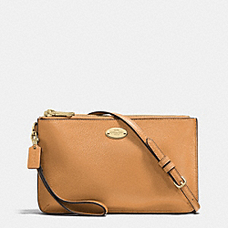 COACH F53157 Lyla Double Gusset Crossbody In Pebble Leather LIGHT GOLD/LIGHT SADDLE