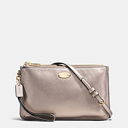 COACH F53157 - LYLA DOUBLE GUSSET CROSSBODY IN PEBBLE LEATHER LIGHT GOLD/METALLIC