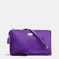 COACH F53157 Lyla Double Gusset Crossbody In Pebble Leather SILVER/PURPLE IRIS