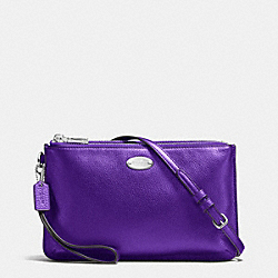COACH F53157 - LYLA DOUBLE GUSSET CROSSBODY IN PEBBLE LEATHER SILVER/METALLIC PURPLE IRIS