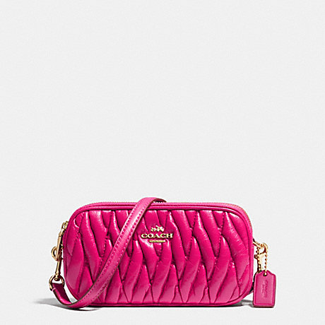 COACH F53163 CROSSBODY POUCH IN GATHERED LEATHER LIGHT-GOLD/PINK-RUBY