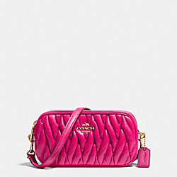 COACH F53163 Crossbody Pouch In Gathered Leather LIGHT GOLD/PINK RUBY