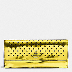 COACH F53178 Soft Wallet In Perforated Mirror Metallic Leather BLACK ANTIQUE NICKEL/YELLOW