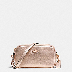 COACH F53187 Crossbody Pouch In Metallic Crossgrain Leather RE/ROSE GOLD