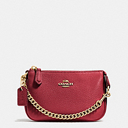 COACH F53193 Nolita Wristlet 15 In Pebble Leather LIGHT GOLD/BLACK CHERRY
