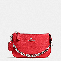 COACH F53193 Nolita Wristlet 15 In Pebble Leather SILVER/TRUE RED