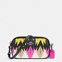 COACH F53198 - CROSSBODY POUCH IN PRINTED CROSSGRAIN LEATHER SILVER/HAWK FEATHER