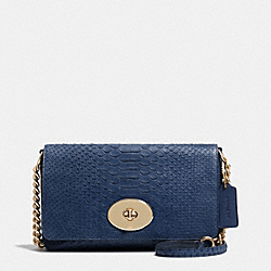 COACH F53253 Crosstown Crossbody In Embossed Python Leather LIGHT GOLD/DENIM