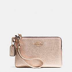 COACH F53285 Corner Zip Wristlet In Metallic Crossgrain Leather RE/ROSE GOLD