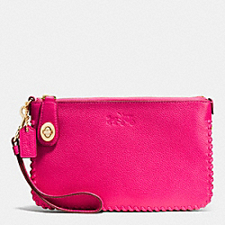 COACH F53289 Turnlock Wristlet 21 In Whiplash Leather LIGHT GOLD/PINK RUBY