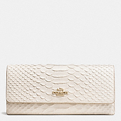 COACH F53307 Soft Wallet In Python Embossed Leather LIGHT GOLD/CHALK