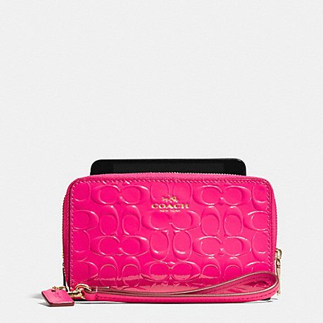 a54c8f4b6 ... release date coach f53310 double zip phone wallet in signature debossed  patent leather light gold pink
