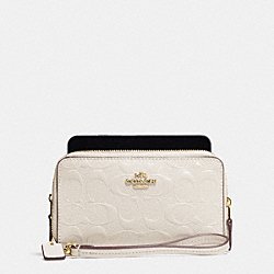 DOUBLE ZIP PHONE WALLET IN SIGNATURE DEBOSSED PATENT LEATHER - f53310 - IMITATION GOLD/CHALK