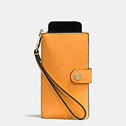 COACH F53311 Phone Clutch In Crossgrain Leather IMITATION GOLD/ORANGE PEEL