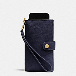 COACH F53311 Phone Clutch In Crossgrain Leather  LIGHT GOLD/MIDNIGHT