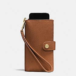 PHONE CLUTCH IN CROSSGRAIN LEATHER - f53311 - LIGHT GOLD/SADDLE