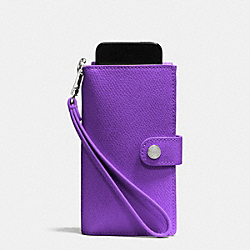 PHONE CLUTCH IN CROSSGRAIN LEATHER - f53311 - SILVER/PURPLE IRIS
