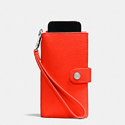 PHONE CLUTCH IN CROSSGRAIN LEATHER - f53311 - SILVER/ORANGE