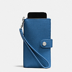 PHONE CLUTCH IN CROSSGRAIN LEATHER - f53311 - SILVER/SLATE