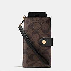 PHONE CLUTCH IN SIGNATURE - f53312 - LIGHT GOLD/BROWN/BLACK