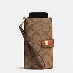 PHONE CLUTCH IN SIGNATURE - f53312 - LIGHT GOLD/KHAKI/SADDLE