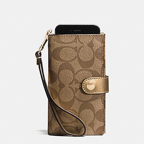 COACH f53312 PHONE CLUTCH IN SIGNATURE IMITATION GOLD/KHAKI/GOLD