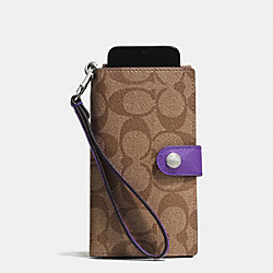 COACH PHONE CLUTCH IN SIGNATURE - SILVER/KHAKI/PURPLE IRIS - F53312